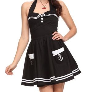 Hell Bunny Vixen Navy Sailor Halter Dress